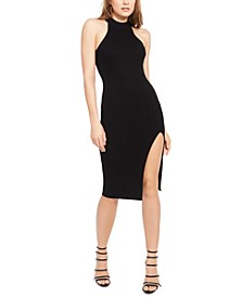 Maia Ribbed Mock-Neck Bodycon Dress