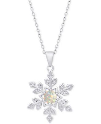SNOWFLAKE NECKLACE PENDANT W// LAB DIAMONDS 925 STERLING SILVER //18/'/' CHAIN