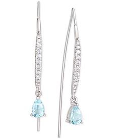 Blue Topaz (1 ct. t.w.) & Cubic Zirconia Threader Earrings in Sterling Silver