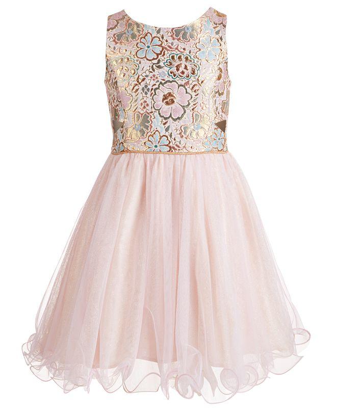 Pink & Violet Big Girls Brocade & Glitter Mesh Dress
