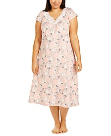 Plus Size Lace-Trim Floral-Print Nightgown, Created for Macy's