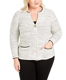 Plus Size Metallic Zip-Front Cardigan Sweater