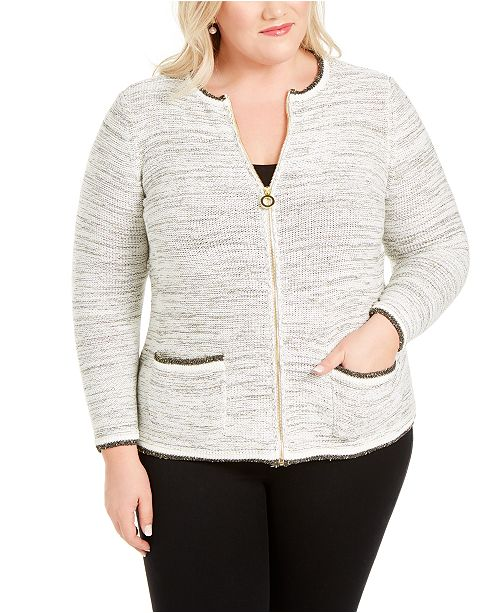 Belldini Plus Size Metallic Zip-Front Cardigan Sweater