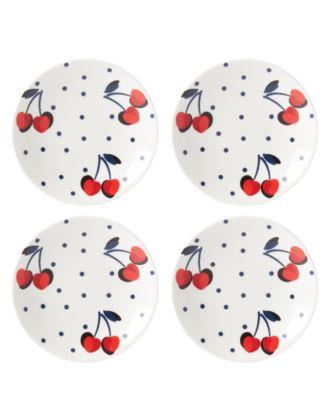 Vintage Cherry Dot Tidbit Plate Set/4