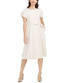 Tulip-Sleeve Fit & Flare Midi Dress