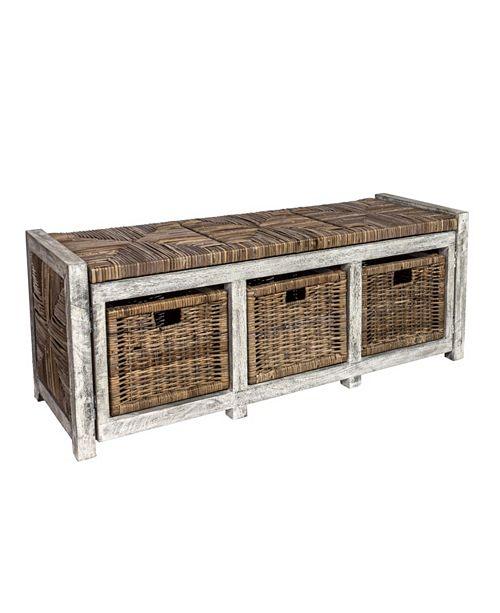 "Furniture Rustic 43"" Storage Bench"