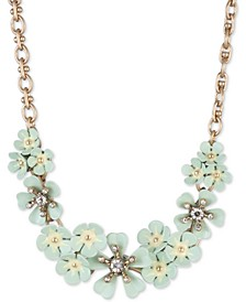 "Gold-Tone Pavé Flower Cluster Statement Necklace, 16"" + 3"" extender"