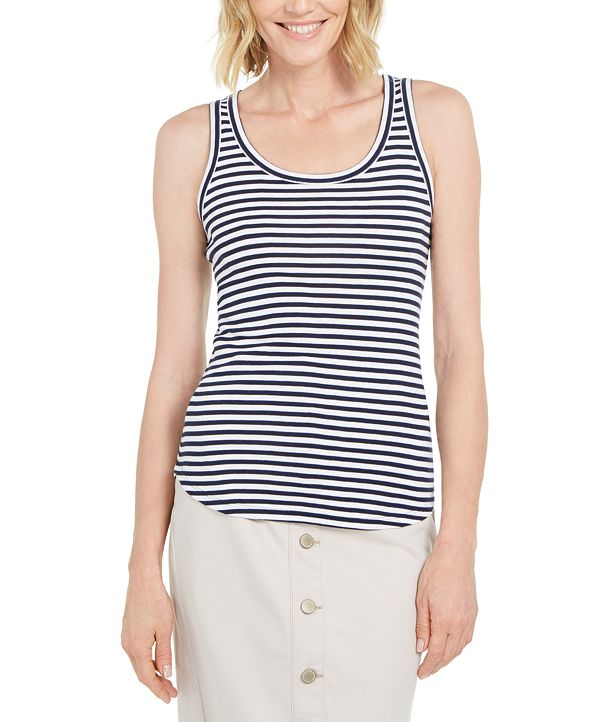 Charter Club Supima® Cotton Knit-Stripe Tank, Created for Macy's