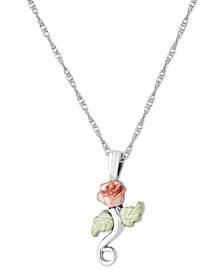 "Rose Pendant 18"" Necklace in Sterling Silver with 12K Rose and Green Gold"