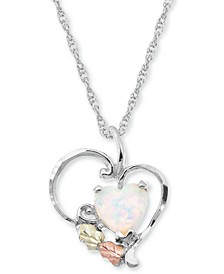 "White Opal Heart Pendant 18"" Necklace in Sterling Silver with 12K Rose and Green Gold"