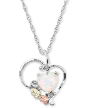 """White Opal Heart Pendant 18"""" Necklace in Sterling Silver with 12K Rose and Green Gold"""