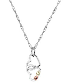 Double Heart Pendant in Sterling Silver with 12K Rose and Green Gold