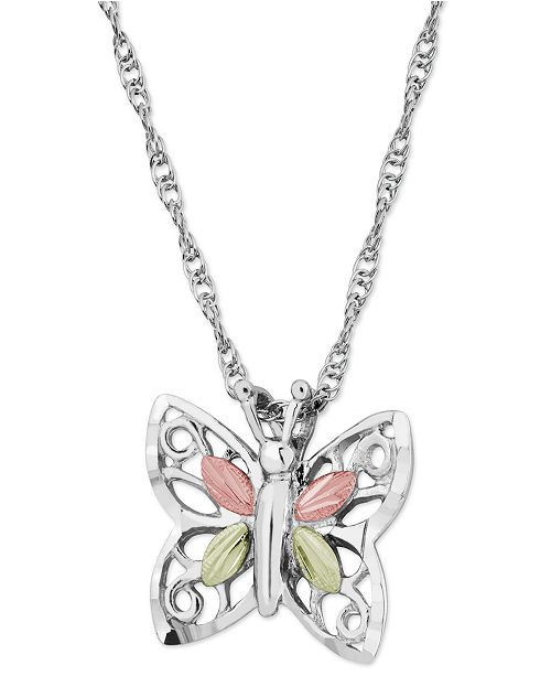 Macy's Butterfly Pendant in Sterling Silver with 12k Rose and Green Gold