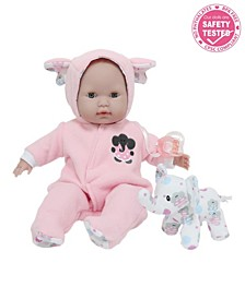 """Berenguer Boutique 15"""" Soft Body Baby Doll Open, close Eyes With Play Elephant Accessory for Children 2 Years and Older, Designed by Berenguer"""
