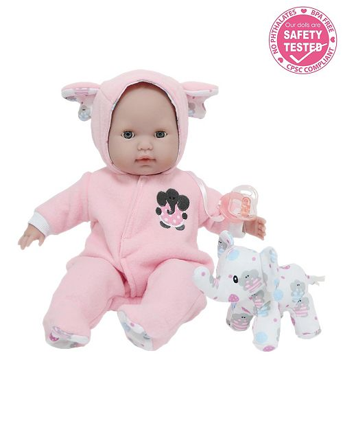 """JC TOYS Berenguer Boutique 15"""" Soft Body Baby Doll Open, close Eyes With Play Elephant Accessory for Children 2 Years and Older, Designed by Berenguer"""
