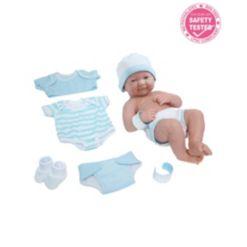 "La Newborn Nursery 14"" Smiling Baby Doll 8 Pcs Blue Gift Set"