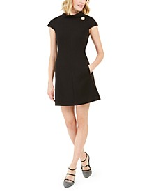 Faux-Pearl-Trim Shift Dress