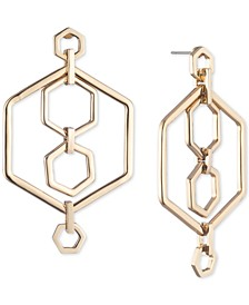 Gold-Tone Hexagon Orbital Drop Earrings