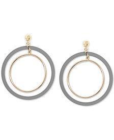Gold-Tone Suede-Painted Double-Hoop Drop Earrings