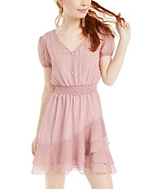 Juniors' Polka-Dot A-Line Dress