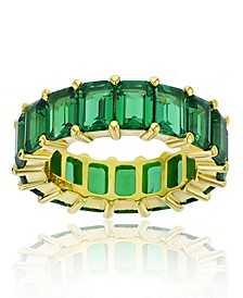 Green Cubic Zirconia Eternity Band in 14k Yellow Gold Plated Plated Sterling Silver