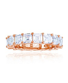 White Cubic Zirconia Eternity Band in 14k Rose Gold Plated Sterling Silver