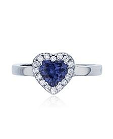 Dark Purple Heart Cubic Zirconia Halo Fashion Ring in Rhodium Plated Sterling Silver