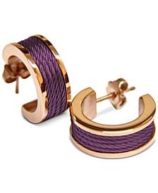 "Small Enamel Cable Huggie Hoop Earrings in Rose Gold-Tone PVD Stainless Steel, 0.75"""