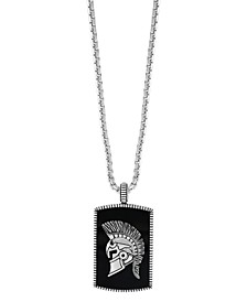 "EFFY® Men's Onyx (16 ct. t.w.) Gladiator Pendant 22"" Necklace in Sterling Silver"