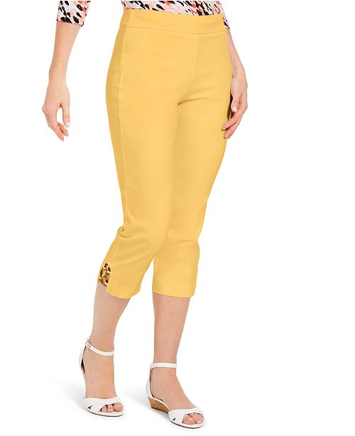 JM Collection Petite Embellished-Hem Tummy-Control Pants, Created for Macy's