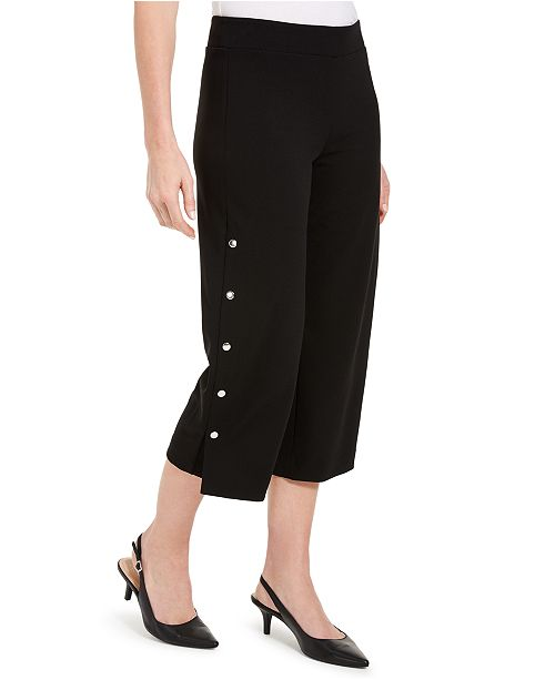 JM Collection Crepe Snap Wide-Leg Capri Pants, Created for Macy's