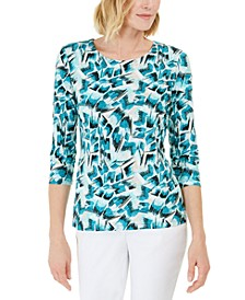 3/4-Sleeve Jacquard T-Shirt, Created for Macy's