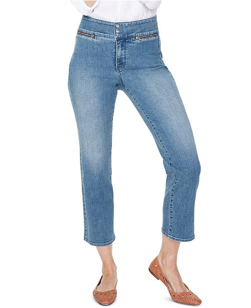 NYDJ Marilyn Tummy Control Cropped Zippered-Pocket Jeans
