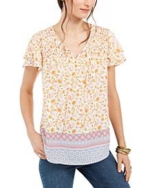 Smocked Split-Neck Top, Created For Macy's