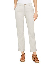 Petite Cotton Cuffed Straight-Leg Pants, Created for Macy's