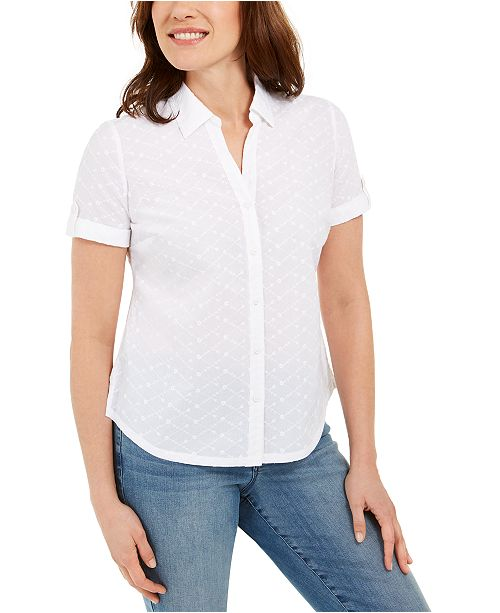 Karen Scott Petite Cotton Embroidered-Eyelet Shirt, Created For Macy's