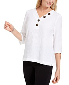 Crinkle Button-Neck Top, Created for Macy's