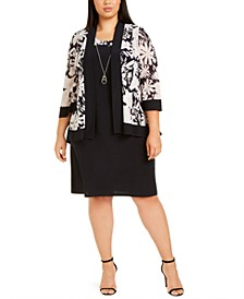 Plus Size Mesh Floral Jacket & Dress