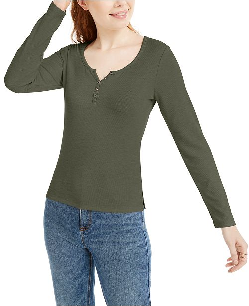 Hippie Rose Juniors' Ribbed Henley