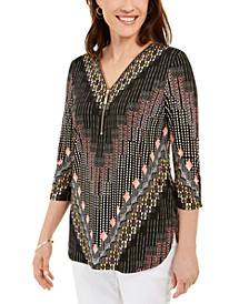 Zip-Neck Printed Top, Created For Macy's