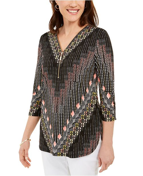 JM Collection Zip-Neck Printed Top, Created For Macy's