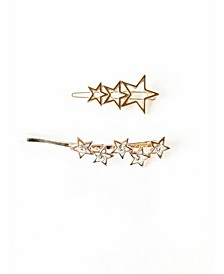Gold-Tone Metal Star Barrette Two-Piece Set