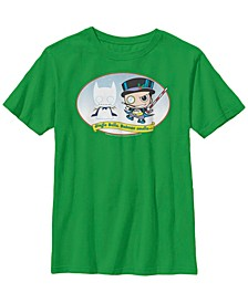 DC Comics Little and Big Boys Kawaii Jingle Bells Batman Smells Short Sleeve T-Shirt