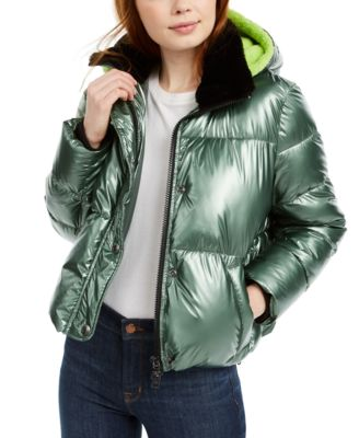 Hooded Faux-Fur-Collar Metallic Puffer Jacket