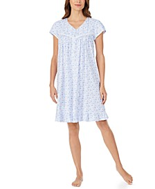 Cotton Lace-Trim Floral-Print Nightgown