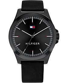 Men's Black Leather Strap Watch 44mm, Created for Macy's