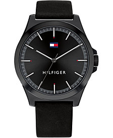 Tommy Hilfiger Men's Black Leather Strap Watch 44mm