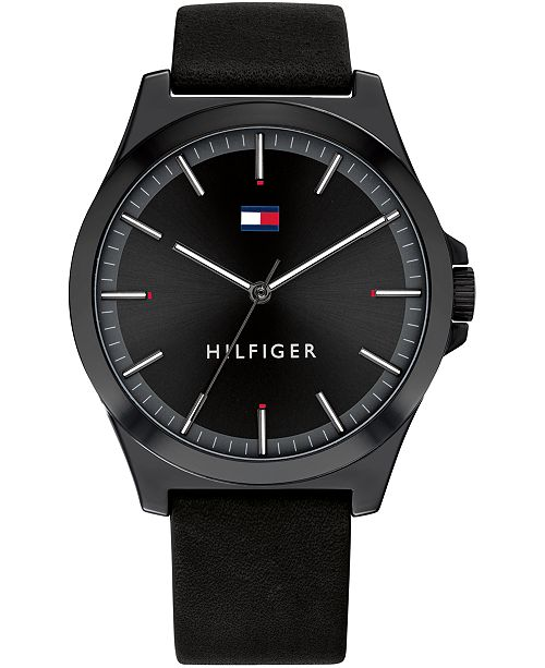Tommy Hilfiger Men's Black Leather Strap Watch 44mm, Created For Macy's
