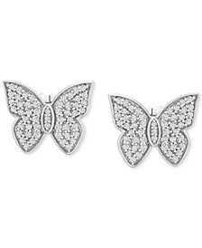 Diamond Butterfly Stud Earrings (1/2 ct. t.w.) in 14k White Gold, Created for Macy's