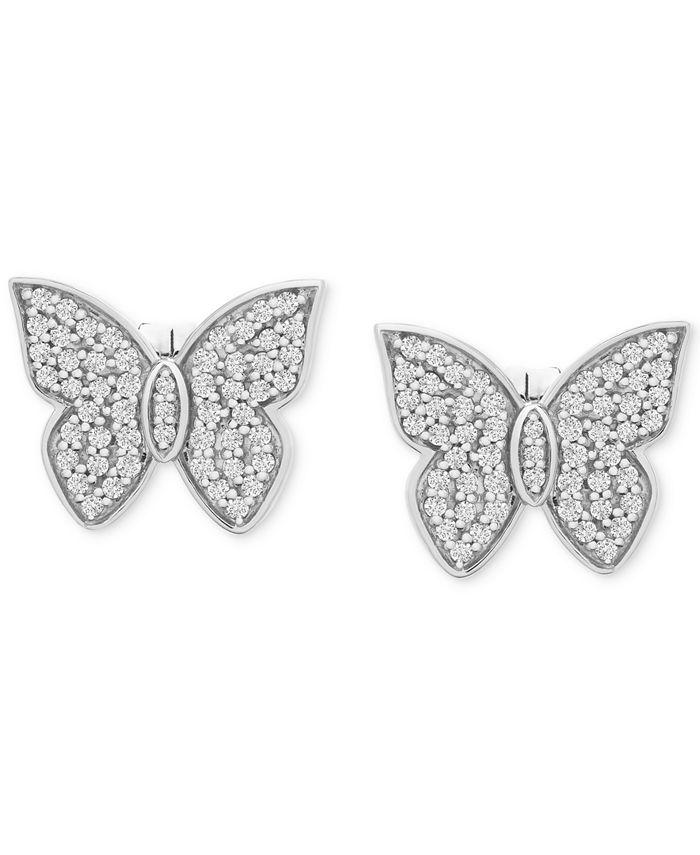 Wrapped in Love - Diamond Butterfly Stud Earrings (1/2 ct. t.w.) in 14k White Gold